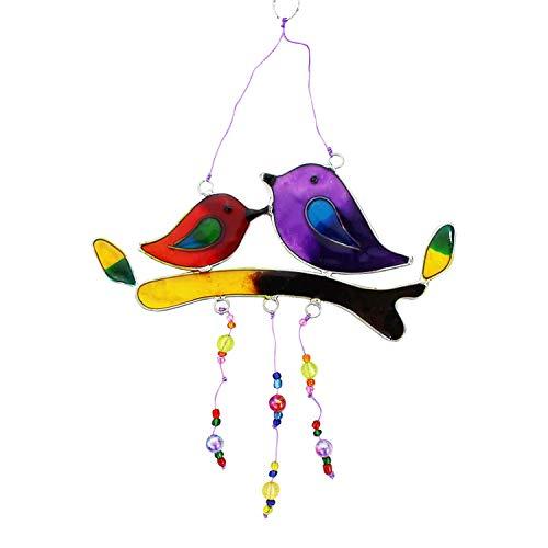 mitienda raamdecoratie met liefde en liefde gemaakte vogels op tak, zonnevanger van hars, suncatcher, raamdecoratie, handgemaakt, mobiel, raamdecoratie