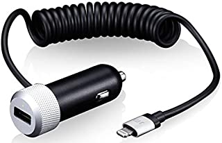 Just Mobile Highway Duo Car Charger Total 3.1A/15.5Watt Built-in Coiled Lightning Cable Premium Unibody Aluminum (CC-158)