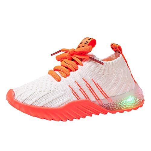Deloito Kleinkind Baby LED Licht Schuhe Kinder Turnschuhe Mädchen Jungen Freizeit Mesh Sneaker Bunt Leuchtende Sportschuhe (26.5 EU, Orange-02)