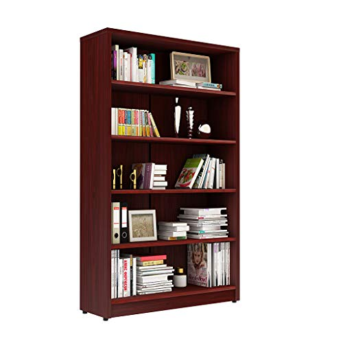 Sunon Collection 5-Shelf Wood Bookcase Freestanding Display Bookshelf for Home and Office, Assembly Required (Mahogany)
