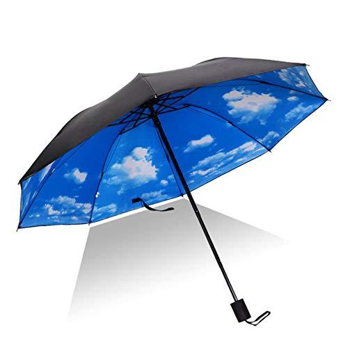 Yukie Vrouw Winddicht Grote 3D Bloem Print Zonnige Anti-zon 3 Vouwen Paraplu Outdoor