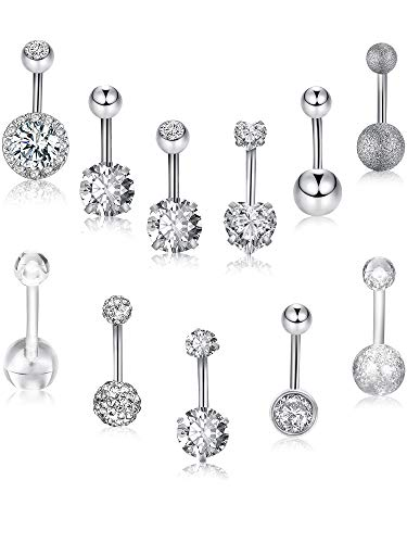 12 Pieces 14G Belly Button Rings Stainless Steel Navel Rings CZ Inlaid Body Piercing Barbell Jewelry, 12 Styles (Color Set 1)