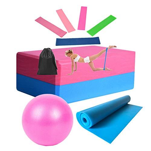 knowledgi Banda de resistencia, pelota de yoga, bloque de yoga, cinturón de anillo, bolsa de transporte, 9 juegos de equipo para fitness, guía de ejercicios, terapia física, ejercicio en casa