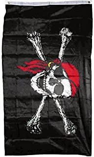PIRATE FLAG with Skull + Bones and Red Scarf - - - 4x6 ft - - - Red Bandanna