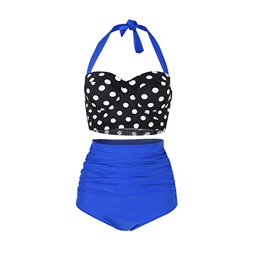 FeelinGirl Bikini Tankini 50er Damen Retro Vintage Bikini Sets High Waist Bademode Badeanzug Neckholder Swimsuit, L(EU 36), Blau