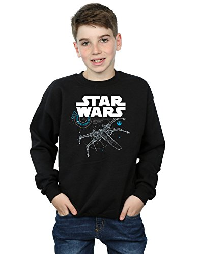 Star Wars Jungen The Last Jedi X-Wing Sweatshirt 7-8 Years Schwarz