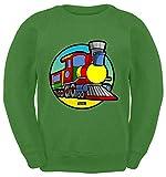 Hariz, felpa per bambini con trenino TUT TUT Veicoli trattore Plus, biglietto regalo Verde lime. 12 anni