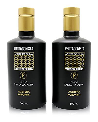 PROTAGONISTA Aceite de Oliva Virgen Extra 100% Koroneiki de Categoría Superior. Extracción en Frío. Botella de Cristal con Dosificador. 500 ml (1)
