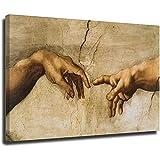 Cuadro de lienzo con diseño de la creación de Adán por Miguel Ángel para pared, carteles e impresiones de mano a mano