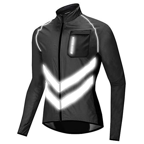 Chaqueta de Ciclismo para Hombre Impermeable Y Transpirable Chaleco Resistente Al Viento Abrigo Exteriores Protección UV (Black,XXXL)