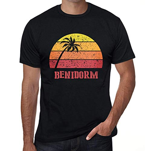 One in the City Hombre Camiseta Vintage T-Shirt Gráfico Benidorm Sunset Negro Profundo