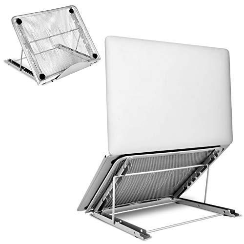 Aigital Soporte Portátil Ventilado 6 Ángulos Ajustables, Ergonómico Plegable Laptop Stand, Compatible con Macbook, DELL XPS, HP, PC y Otros Portátile, Tableta de 7-15.6 Pulgadas, Plata