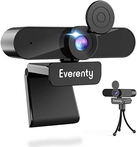 Everenty Webcam PC 1440P Full HD Webcam avec Microphone Stéréo Caméra Web, Webcam PC pour Ordinateur de Bureau pour Appels Vidéo, Conférences, Enregistrements, Compatible avec Windows, Mac et Android