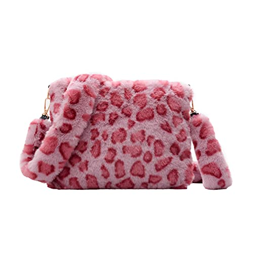 Bandolera de piel sintética para mujer y niña, diseño de leopardo, rosa (Rosado (Leopard print)), Talla única