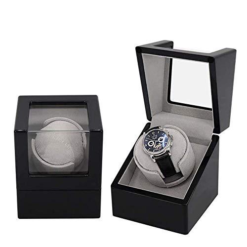 Relojes Caja Hogar Single Watch Winder, Watchers Automatic Windowers Tubo a prueba de polvo Reloj de madera Rayadero Caja de exhibición Caja elegante para ver el almacenamiento de reloj giratorio (Col