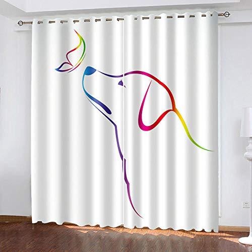 FFFSSS Impresión Digital 3D Cortinasanimal Perro Cortina 3D Dormitorio 100% Poliéster Moderno Salón Cama Habitación Hoteloficina Decoracion 280Wx245H Cm