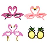 SUSHAFEN 4 Pcs Funny Flamingo Sunglass Pineapple Sunglasses Tropical Sunglasses Novelty Sunglasses For Hawaiian Luau Party Summer Fancy Dress Party Beach Party Pool Parties Decorations