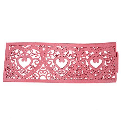 Senmubery Juego de 6 Piezas Pantalla de Lámpara de Vela LED Patrón de Corazón Decoración Calado para Boda Navideea (Rosado)