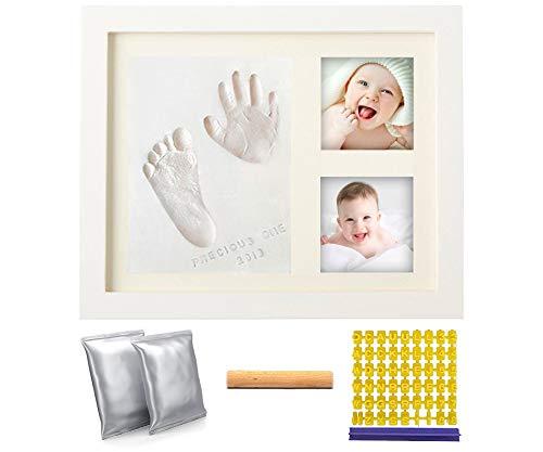 Baby-Bilderrahmen für das erste Jahr Baby-Handabdruck- und Fußabdruck-Kit Babys Denkwürdiges Andenken-Set Bilderrahmen (Tontyp)