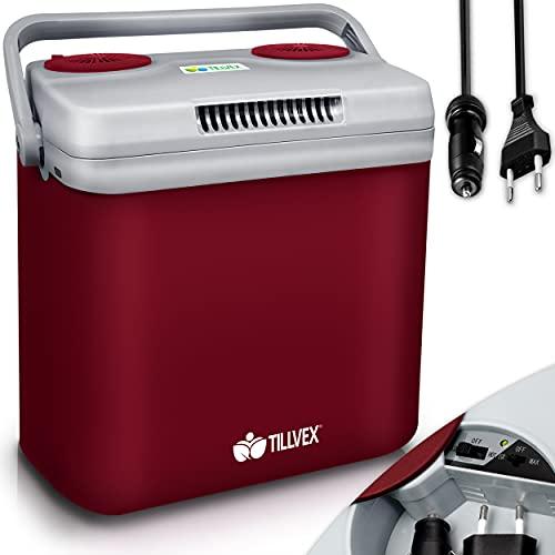 tillvex Kühlbox elektrisch 32L | Mini-Kühlschrank 230 V und 12 V für KFZ Auto Camping | kühlt & wärmt | ECO-Modus (Rot)
