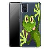 KX-Mobile Hülle für Samsung Galaxy A52 5G Handyhülle Schutzhülle aus weichem Silikon TPU Softcase mit Motiv 2167 grüner lustiger Frosch
