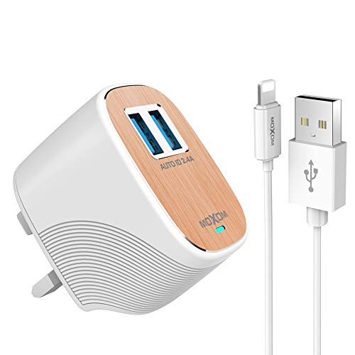 MOXOM USB Charger Plug, Fast Charging 2.4A 22W 2-Port Travel USB Wall Charger with Charge and Sync Cable for iPhone X 8 7 6S Plus SE, for iPad Pro Air Mini