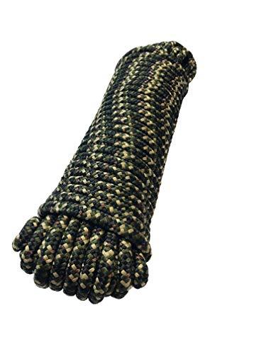 Corde polypropylène 6 mm x 20 m corde tressée camouflage Laisse amarrage, cordes polypropylene corde multifonctionnelle, charge de rupture: 350 Kg