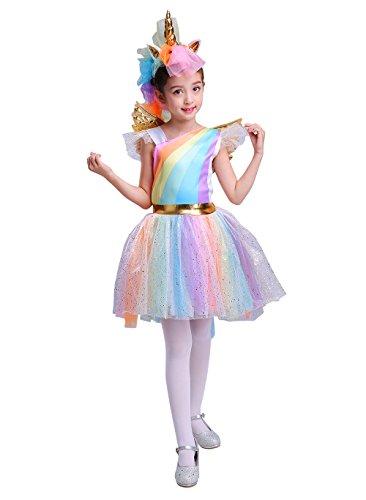 Seasons Direct Halloween Girl's Rainbow Unicorn Costume with Wing and Headpiece (M(8-10))