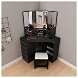Fine Corner Design Dressing Table Vanity Mirror Set - Modern Bedroom Storage Cabinet Makeup Table with Drawer - Bathroom Vanity for Corner Small Space (Ship from U.S.) (Black)