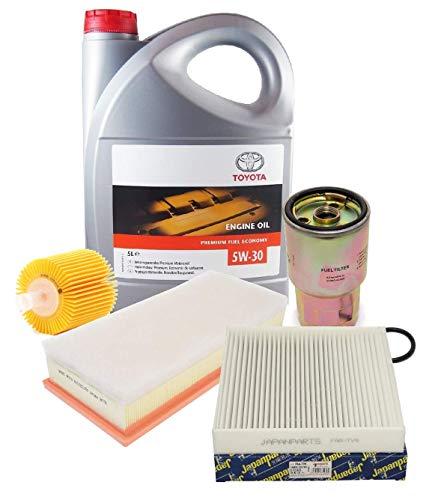 Kit Set Filters Herziening Motorolie Echte Toyota 5W-30 PFE synthetische 08880-83389 C2 5 Liter, (JAPANPARTS merk filters)