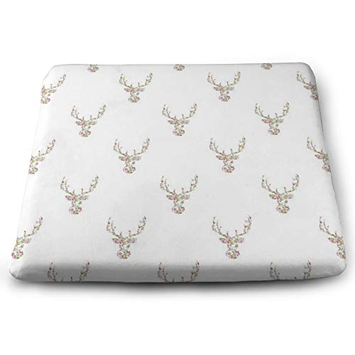Sanghing Customized Modern Pink White Vintage Floral Deer Head 1.18 X 15 X 13.7 in Cushion, Suitable for Home Office Dining Chair Cushion, Indoor and Outdoor Cushion.