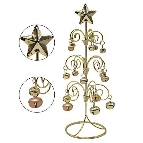 Liwein Decorazioni per L'Albero di Natale da Tavolo Campana in Ferro Battuto Mini Albero Natale Metallo Decorazione da Scrivania per la Casa Capodanno Xmas (Dorato)
