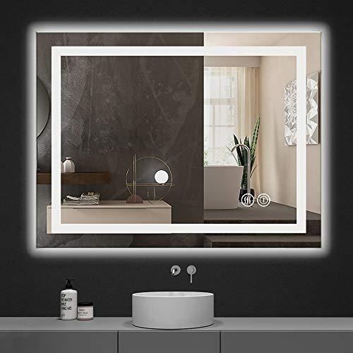Yinleader Espejo de pared para cuarto de baño con iluminación LED de 60 x 80 cm con interruptor táctil, espejo de luz tricolor regulable en la temperatura, luz blanca cálida y fría