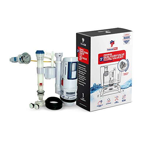 ForeverPRO DFVFVK Universal Water Saving Dual Flush Valve and Fill Valve with Push Button Toilet Repair Kit Fits Standard 2 inch Drain