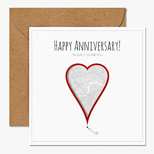 Anniversary Greetings Heart Card | Premium 350gsm Card | Unique | Blank Inside | Made in UK Eco Friendly