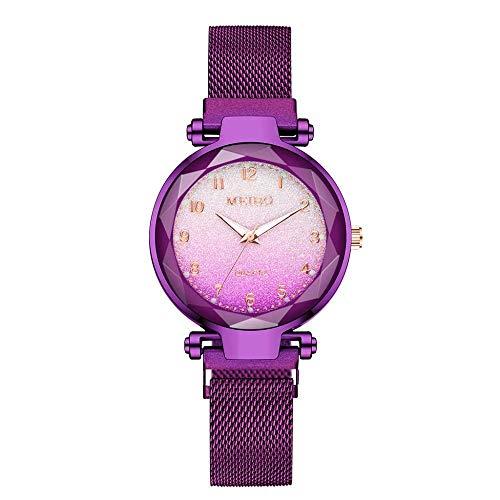 CMXUHUI Chica Reloj Regalo de cumpleaños Regalo del día de Damas imán Hebilla Degradado Color Reloj de Moda Mujer Moda Reloj Regalo Reloj púrpura