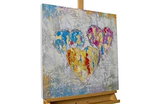 KunstLoft® Acryl Gemälde 'EIN Herzenswunsch' 60x60cm | original handgemalte Leinwand Bilder XXL | Modern Herz Grau Bunt | Wandbild Acrylbild Moderne Kunst einteilig mit Rahmen