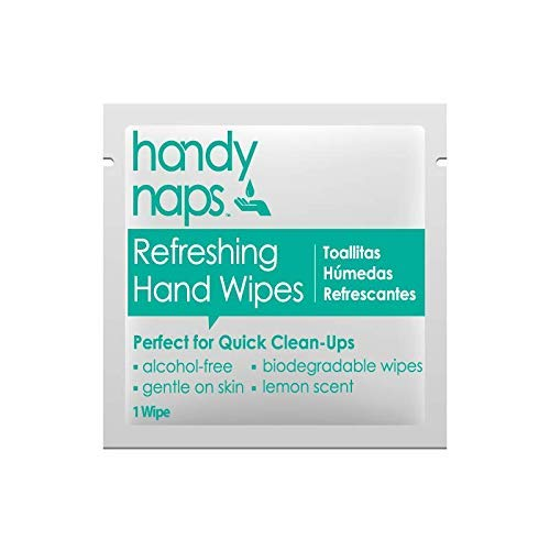Handynaps® Pre-Moistened Refreshing Hand Cleaning Wet Wipes, No Alcohol, for General Cleaning Purpose, Individually Wrapped Bulk Buy 1000 Count