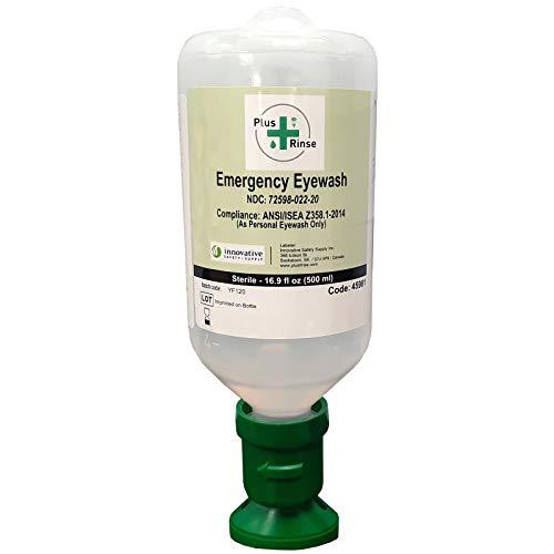 Plum Plus Rinse 45981-2 Sterile Saline Eyewash Solution Bottle 500 mL, 8.5