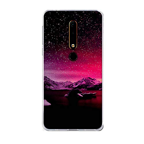 Nokia 6.1 Case, Nokia 6 2018 Case,Gift_Source Slim Thin Clear Shock-Absorption Bumper Cover Flexible Soft TPU Silicone Gel Rubber Protective Case for Nokia 6.1 2018 (5.5 ) [Pattern 22]