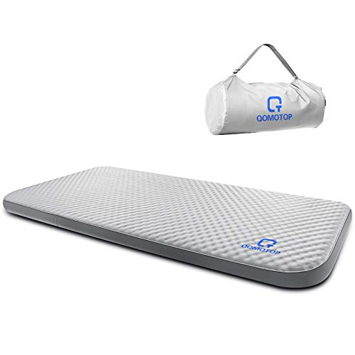 "QOMOTOP Ultra Comfortable Side Sleep Friendly Single Self-Inflating Camping Mattress, 80""×28""×4"" Sleeping Pad, 7.5 lbs Portable Roll-Up Camping Mattress, 4 Inches PU Foam, 24h Without Leaks - Gray"