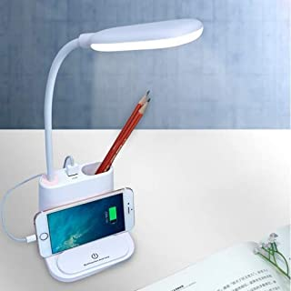 LED Desk Lamps Light Multi-Function Touch Switch USB Charging LED Desk Lamp with Phone Holder & Pen Holder, White Light & ...