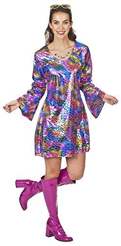 Glitter tuniek voor dames - jaren 80 Disco Show kostuum jurk hologram effect