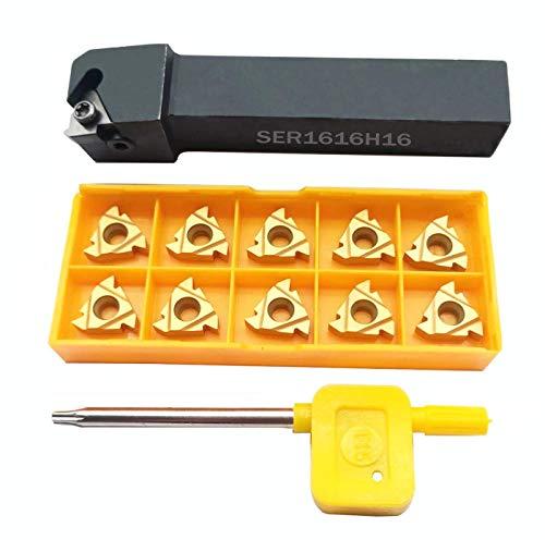 SER161616H16 CNC-Drehmaschine, Hartmetall, Indexierbar, für Gewinde, drehbar, mit 10 Stück 16ER AG60 BP010 Indexierbare Hartmetall-Einsätze