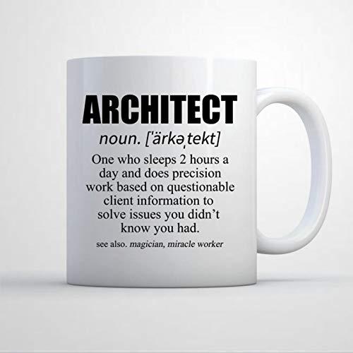 Taza de arquitecto Presente lindo arquitecto taza de café arquitectura taza de arquitecto definición taza novedad taza de té cerámica regalo de cumpleaños para mujeres hombres
