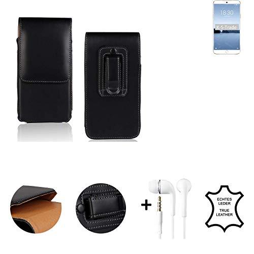 K-S-Trade® Leder Gürtel Tasche + Kopfhörer Für Meizu M15 Seitentasche Belt Pouch Holster Handy-Hülle Gürteltasche Schutz-Hülle Etui Schwarz 1x