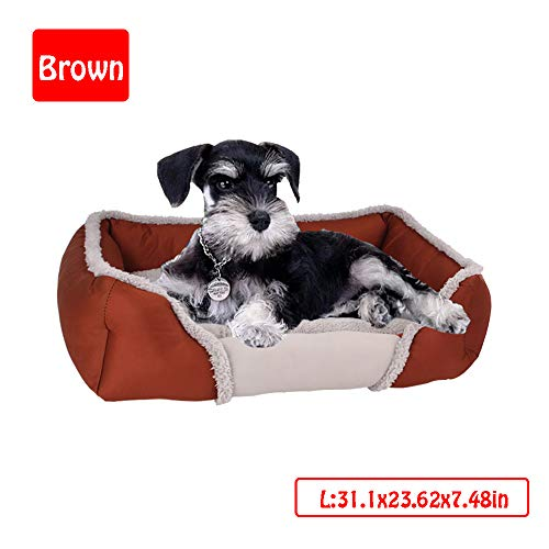 Dog Bed,Dog Basket,Comfortable Dog Sofa,Pet Cat Bed,Cosy Pet Bed In Bedroom, Living Room And Hallway,Easy To Clean,Rectangle Plush Dog Cat Bed Self-Warming Pet Bed,Brown,L