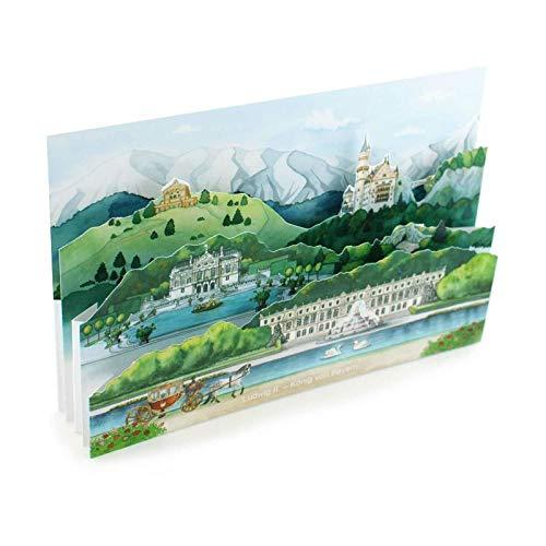 Pop-Up-Karte / 3 D-Karte:BAYERN - DIE SCHLÖSSER KÖNIG LUDWIG II. - mit Liebe gemachte 3D-Faltkarte für einen Reisegutschein/Grusskarte/Einladung nach Bayern oder zum Oktoberfest