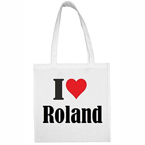 Tasche I Love Roland Größe 38x42 Farbe Weiss Druck Schwarz