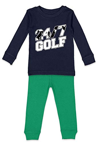 Haase Unlimited 24/7 Golf - Tee Putt Sports Youth Pajama Set (Navy Blue Top/Kelly Bottoms, Youth 8)